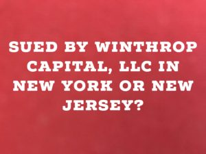 Sued By Who is Winthrop Capital, LLC In New York or New Jersey?