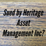 Sued By Heritage Asset Management, Inc. In New York or New Jersey?